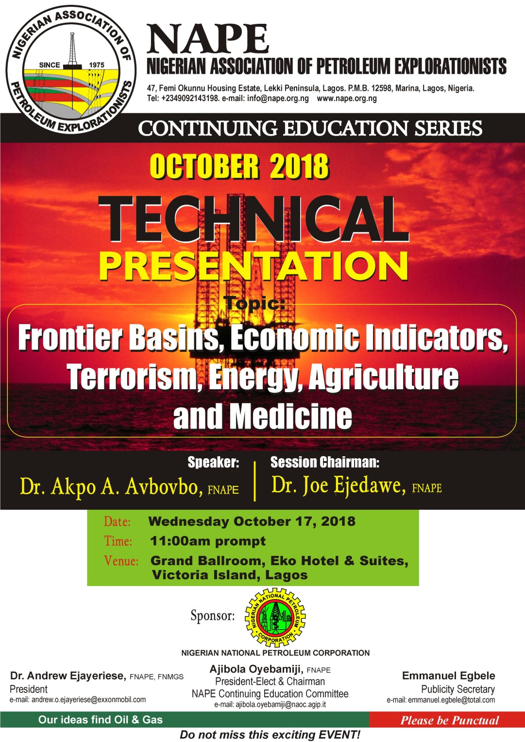 Technical Meeting E Poster for October 2018 Lagos