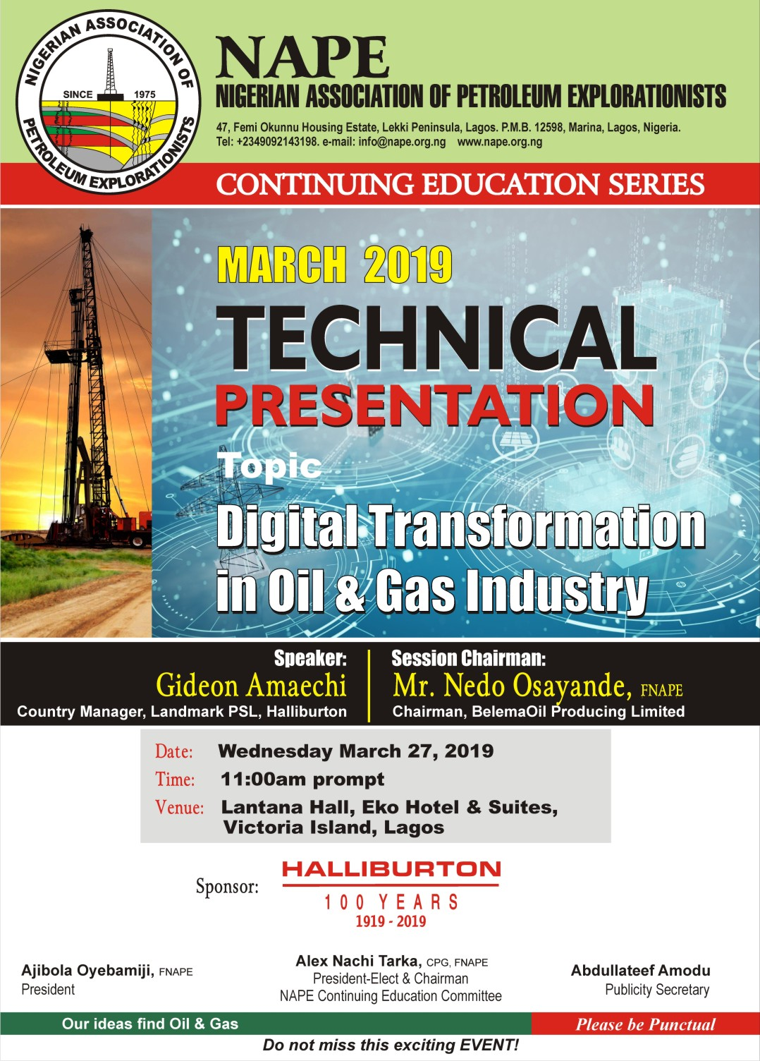 4d0418a0fc871 You are invited to the Lagos March 2019 Technical Business Meeting which  will be held on Wednesday March 27
